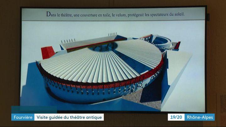 Simulation en image de synthèse du Théâtre Antique de Lyon avec le velum. (J. Adde / France Télévisions)