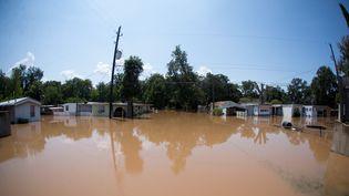 Les inondations, après le passage de l'ouragan Harvey sur le Texas, dans la zone d'Edgewood Trailer Park, le 1er septembre 2017. (GETTY IMAGES)