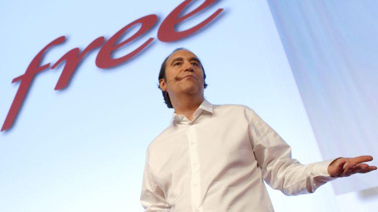 Le patron de Free, Xavier Niel, le 10 janvier 2012, lors du lancement de son offre mobile. (THOMAS COEX / AFP)