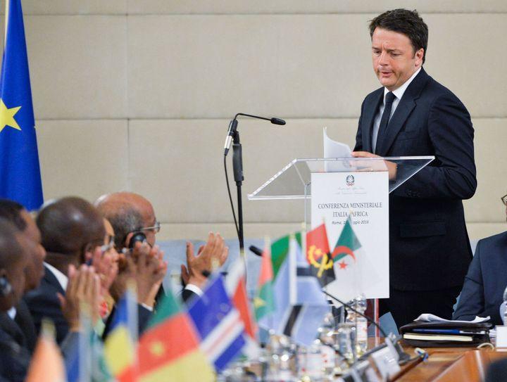 Mattéo Renzi a ouvert la première conférence Italie-Afrique organisée le 18 mai 2016 à Rome (AFP/ Silvia Lore)