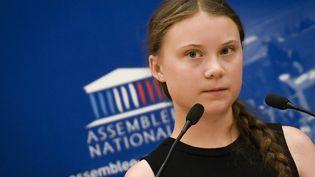 Greta Thunberg lors de son discurs devant les députés, à l'Assemblée nationale le 23 juillet 2019 (LIONEL BONAVENTURE / AFP)