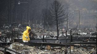 """Un membre des équipes de secours recherche des restes humains dans la ville de Paradise, en Californie (Etats-Unis), le 21 novembre 2018, après le passage dévastateur de l'incendie """"Camp Fire"""". (JUSTIN SULLIVAN / GETTY IMAGES NORTH AMERICA / AFP)"""