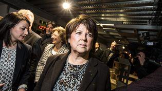 La maire (PS) de Lille Martine Aubry et l'ancienne ministre du Logement Cécile Duflot à Lille, en décembre 2013. (MAXPPP)