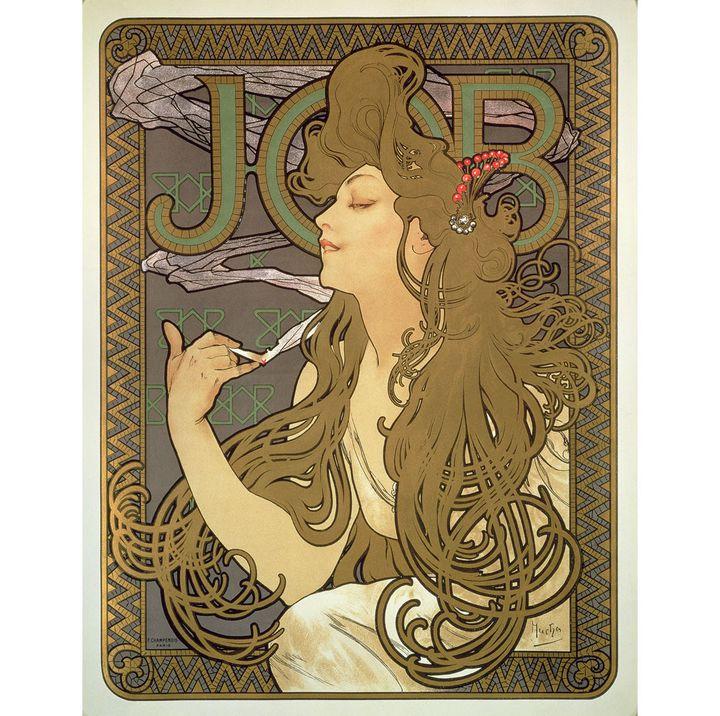 """Alphonse Mucha, """"Papier à cigarette Job"""", 1896, lithographie en couleur, Fondation Mucha, Prague  (Mucha Trust 2018)"""