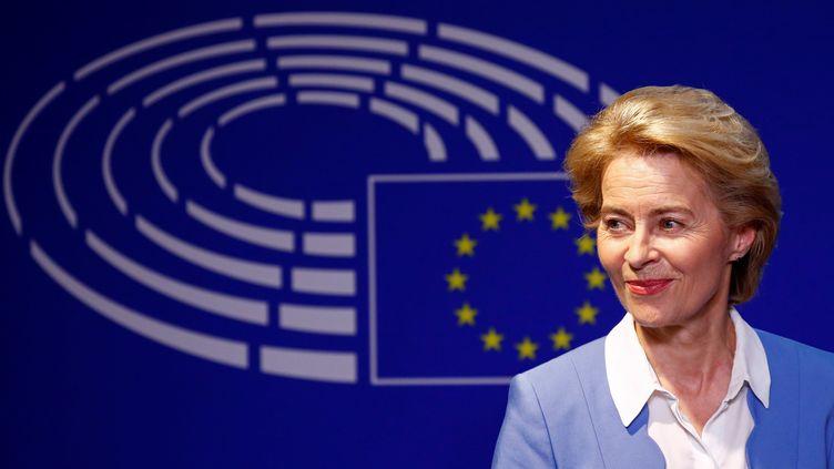 Ursula von der Leyen lors d'une conférence de presse à Bruxelles, le 10 juillet 2019. (FRANCOIS LENOIR / REUTERS)