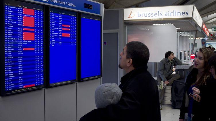 Des passagers à l'aéroport de Lyon Saint-Exupéry (Rhône) où les agents de sûreté sont en grève,le 17 décembre 2011. (JEAN-PHILIPPE KSIAZEK / AFP)