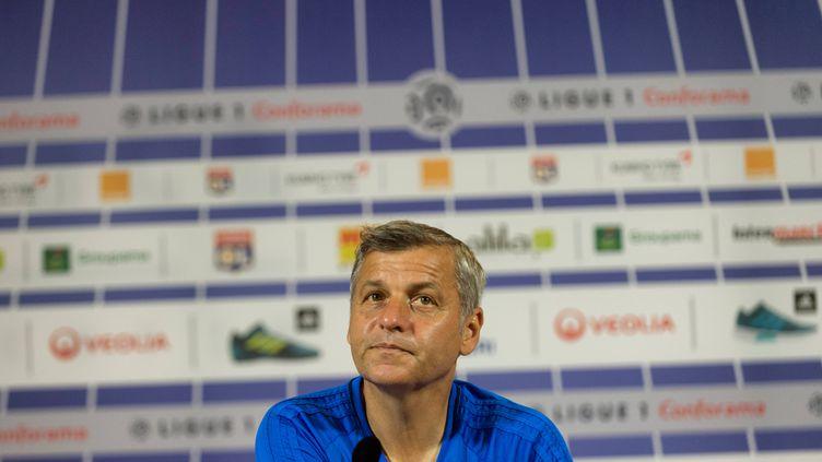 Le coach de l'OL, Bruno Genesio, en conférence de presse.