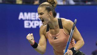 Maria Sakkari s'est qualifiée pour les demi-finales du tournoi de l'US Open, le 8 septembre 2021, à New York. (SARAH STIER / GETTY IMAGES NORTH AMERICA)
