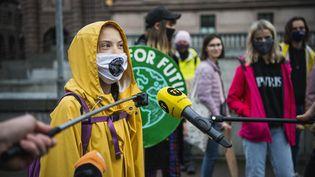 La militante écologiste suédoise Greta Thunberg, devant le Parlement suédois, à Stockholm, le 9 octobre 2020. (JONATHAN NACKSTRAND / AFP)
