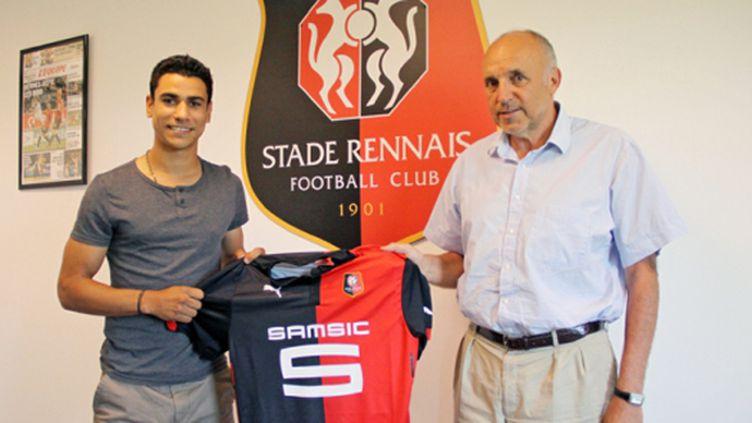 Benjamin André et le président du Stade Rennais, René Ruello