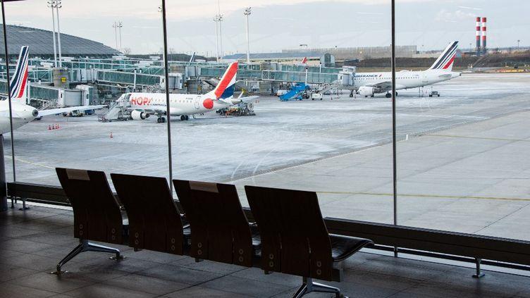 Des avions d'Air France sur le tarmac de l'aéroport de Roissy-Charles de Gaulle, le 11 février 2021. (SANDRINE MARTY / HANS LUCAS / AFP)