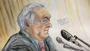 Dominique Strauss-Kahn, à la barre du tribunal correctionnel de Lille (Nord), le 12 février 2015. (ELISABETH DE POURQUERY / FRANCETV INFO)