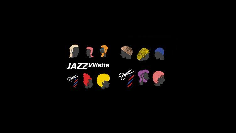 Jazz à la Villette : quelques-unes des coiffures qui illustrent l'affiche de l'édition 2019 (Jazz à la Villette 2019 - montage affiche)