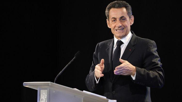 Nicolas Sarkozy présente ses vœux au monde de la culture à Marseille (Bouches-du-Rhône) le 24 janvier 2012. (fef/ag/ab/ab)