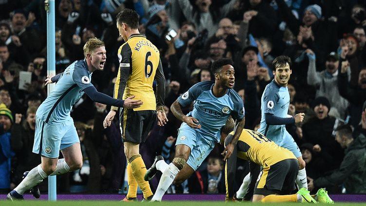 La joie de Raheem Sterling pour Manchester City (OLI SCARFF / AFP)