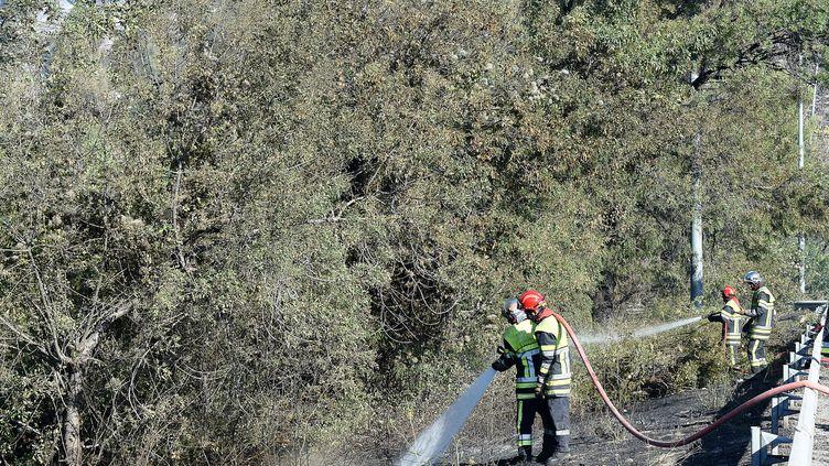 Des pompiers éteignent les dernières flammesd'un feu aux Pennes-Mirabeau (Bouches-du-Rhône), jeudi 11 août 2016. (BORIS HORVAT / AFP)