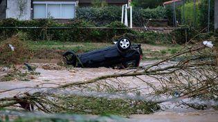 AVillegailhenc (Aude), la Trapel est sortie de son lit après les pluies torrentielles qui ont frappé le département, le 15 octobre 2018. (ERIC CABANIS / AFP)
