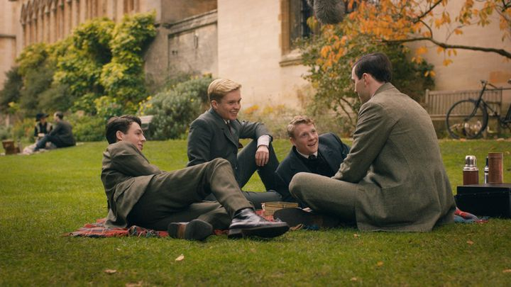 "Anthony Boyle, Nicholas Hoult, Patrick Gibson, Tom Glynn-Carney dans ""Tolkien"" deDome Karukoski (Copyright 2019 Twentieth Century Fox)"