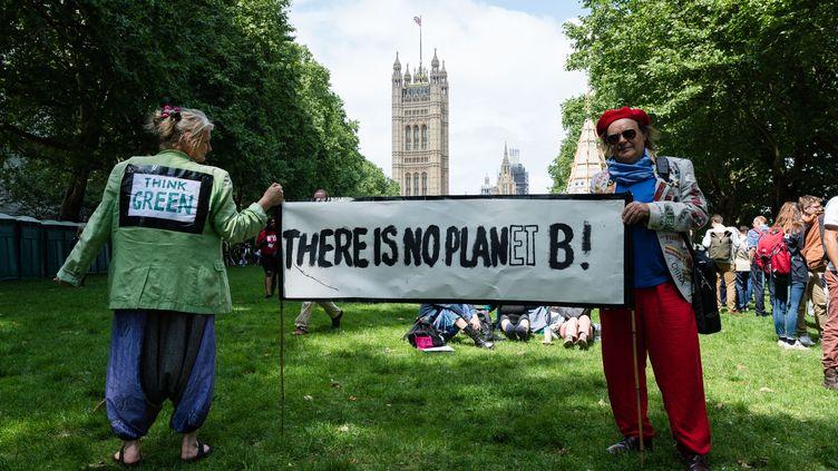 """""""Pensez vert"""", """"Il n'y a pas de planète B"""", pouvait-on lire sur la veste verte et la banderole de manifestants mobilisés par l'urgence climatique le 26 juin 2019 à Londres, du côté de Westminster (WIKTOR SZYMANOWICZ / NURPHOTO / AFP)"""