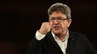 Le candidat de la France insoumise, Jean-Luc Mélenchon, lors d'un meeting à Lille, le 12 avril 2017. (PHILIPPE HUGUEN / AFP)