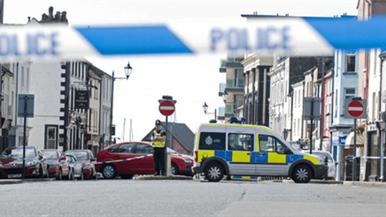 La scène du meurtre, gardée par la police, à Lake District (AFP/Derek Blair)