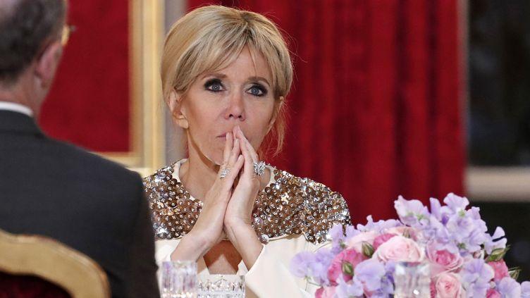 Brigitte Macron, à l'Élysée lors d'un dîner avec le Grand-Duc de Luxembourg, le 19 mars. (BENOIT TESSIER / AFP)