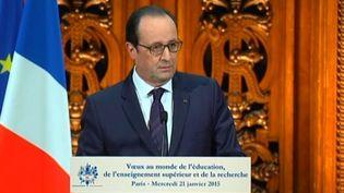 Capture d'écran montrant François Hollande prononçant ses vœux au monde de l'éducation,à la Sorbonne, à Paris, le 21 janvier 2015. (FRANCE 2 ET FRANCE 3 )