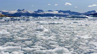 La glace fond dans le fjord Sermilik (Groenland), le 28 avril 2019. (PHILIPPE ROY / AFP)