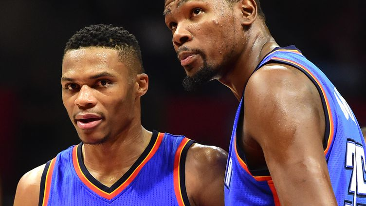 Russell Westbrook et Kevin Durant (Oklahoma City Thunder) (HARRY HOW / GETTY IMAGES NORTH AMERICA)