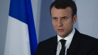 Emmanuel Macron a dévoilé ses propositons sur la défense, à Paris, le 18 mars 2017. (CITIZENSIDE / FRANCOIS PAULETTO / AFP)