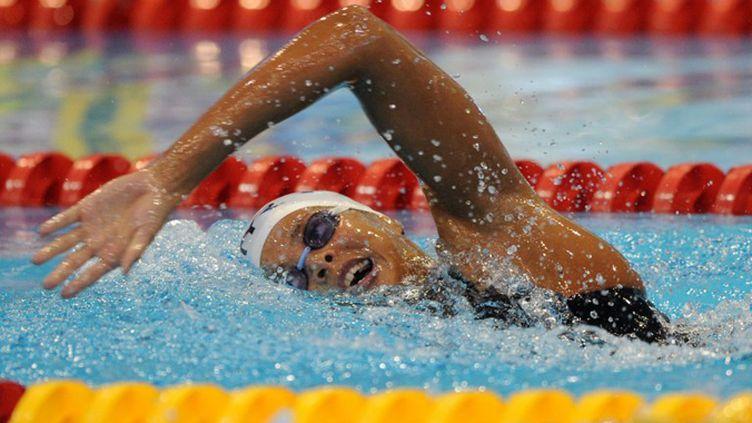 Coralie Balmy comme un poisson dans l'eau (ATTILA KISBENEDEK / AFP)
