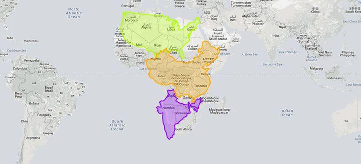 """Capture d'écran du site """"The True Size"""", qui permet de réaliser la véritable étendue des différents pays du monde. (THE TRUE SIZE)"""