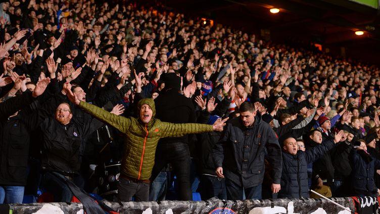 Des supporters du club anglais de Crystal Palace soutiennent leur équipe, le 11 janvier 2015, à Londres. (JAVIER GARCIA / BACKPAGE IMAGES LTD / AFP)