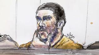 Croquis de Mehdi Nemmouche lors de son procès à Bruxelles (Belgique), le 10 janvier 2019. (BENOIT PEYRUCQ / AFP)