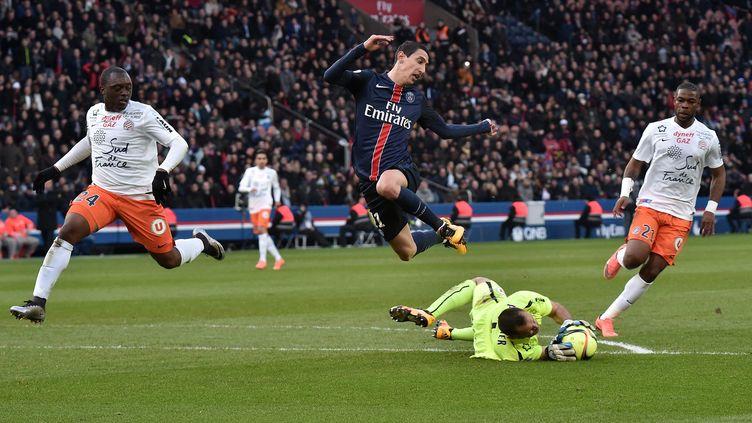 angel Di Maria (PSG) bute sur Laurent Pionnier, le gardien de Montpellier. (CHRISTOPHE PETIT TESSON / EPA)