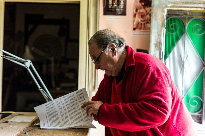 Michel Leclerc, le propriétaire du cinéma deMons-en-Montois (Seine-et-Marne), en septembre 2017. (MATTHIEU MONDOLONI / FRANCEINFO)