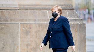 La chancelière allemande Angela Merkel à Berlin, le 18 avril 2021. (CHRISTOPH SOEDER / DPA / AFP)