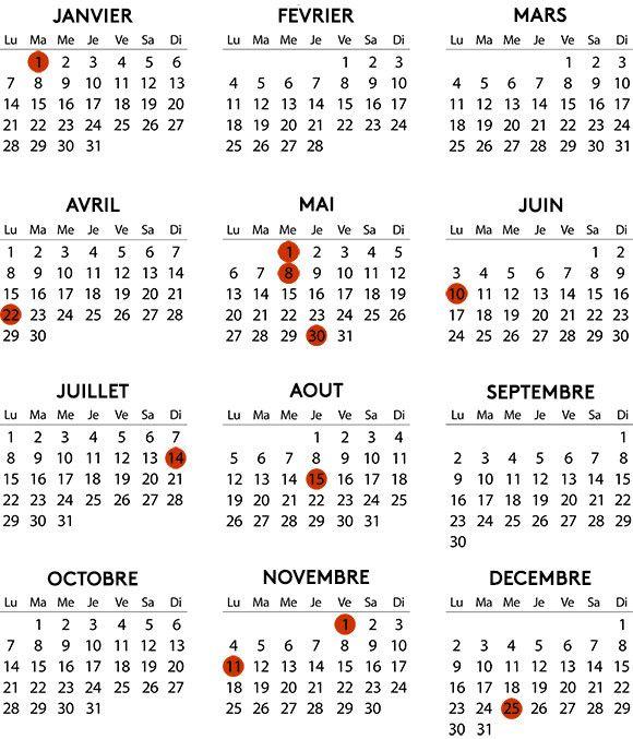 Les jours fériés de 2019. (GETTY IMAGES / FRANCEINFO)