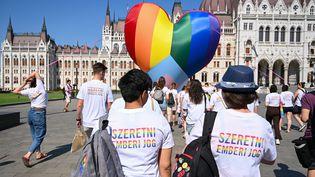 Manifestation de membres ou de sympathisants LGBT devant le Parlement à Budapest (Hongrie), le 8 juillet 2021. (ATTILA KISBENEDEK / AFP)