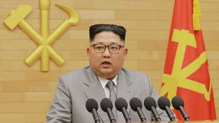 Kim Jong-un lors de son message du Nouvel An, le 1er janvier 2018. (KCNA VIA KNS / AFP)