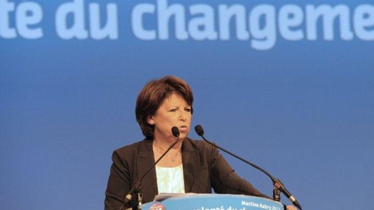 Martine Aubry, le 7 septembre 2011, en meeting à Toulouse (ERIC CABANIS / AFP)