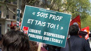 Des professeurs manifestent contre la réforme Blanquer, le 18 avril 2019, à Paris. (RICCARDO MILANI / HANS LUCAS / AFP)