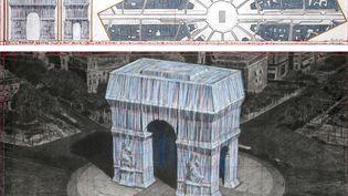 Le projet d'emballage de l'Arc de Triomphe par Christo et Jeanne-Claude, dessiné en avril 2019. (ANDRE GROSSMANN / CHRISTO AND JEANNE-CLAUDE - 2019)