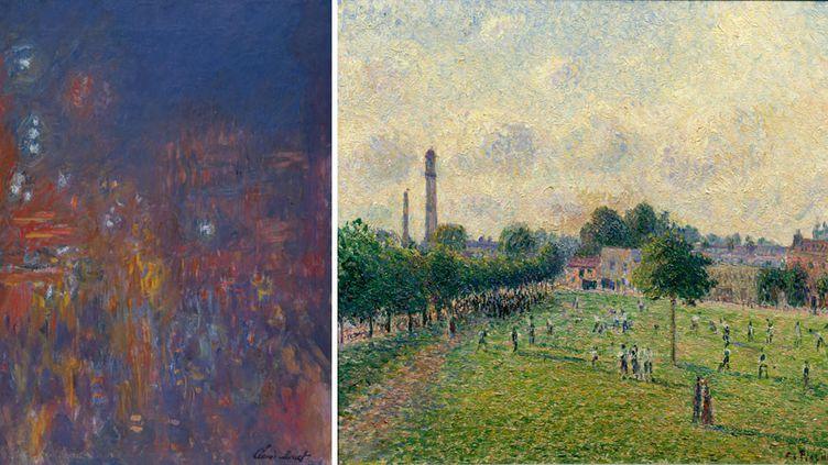 """A gauche Claude Monet, """"Leicester Square"""", 1901, Coll. Fondation Jean et Suzanne Planque (en dépôt au Musée Granet, Aix-en-Provence) - A droiteCamille Pissarro, """"Kew Green"""", 1892, Musée d'Orsay (Paris)  (A gauche Photo: © Luc Chessex - A droite © Musée d'Orsay)"""