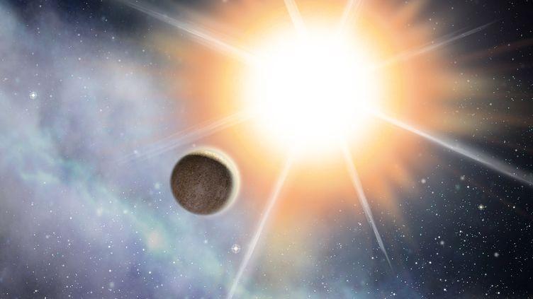 Vue d'artiste d'une planete extrasolaire, devant son etoile. (D.DUCROS / NOVAPIX / AFP)