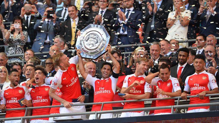 Les joueurs d'Arsenal vainqueurs du Community Shied face à Chelsea. (GLYN KIRK / AFP)