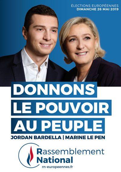 L'affiche de la liste du Rassemblement national pour les européennes 2019. (FRANCEINFO)