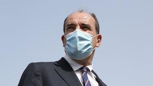 Le premier ministre, Jean Castex, à son arrivée au centre de vaccination de Leucate (Aude), le 11 août 2021. (FREDERIC SCHEIBER / AFP)