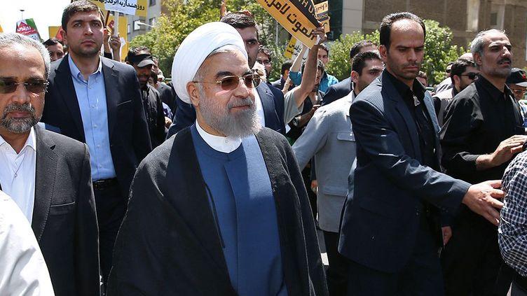 Le président iranien, Hassan Rohani, le 10 juillet 2015 à Téhéran (Iran). (PRESIDENCE IRANIENNE / AFP)