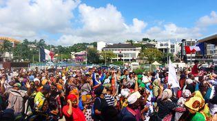 Manifestation place de la République àMamoutzou (Mayotte), le 13 mars 2018. (ORNELLA LAMBERTI / AFP)